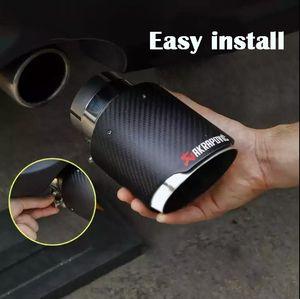 GTPARTS 1PC Akrapovic Style Carbon Fibre Car Exhaust Tip Muffler Tail Pipe Matte Carbon fiber cover