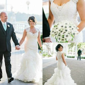 Крышки рукава кружева русалка свадебное платье на заказ аппликации многоуровневые юбки свадебные платья кнопки задние свадебные платья плюс размер