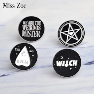 Miss Zoe Dark pins WITCH Star Moon OUIJA YES or NO weirdos mister Brooch Denim PU coat Pin Buckle Shirt Badge Fashion Gift for Friend