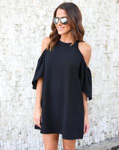 Frauen kleiden weg von der Schulter O-Ansatz beiläufige Plus Größe S-3XL Sommer Puff Kurzarm Europen American Fashion Kleidung