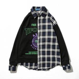 Plaid stitching printied shirts men's casual shirts arc hem personality men's long sleeve shirt male free shipping