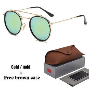 남성용 고품질 라운드 선글라스 태양 안경 운전 반사 코팅 uv400 안경 무료 상자 및 케이스가있는 Oculos gafas de sol