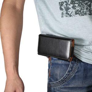 Universal PU Leather Waist Packs Casual Men Phone Pouch Bags Hook Loop Belt Clip Case Waist Bag Black Mobile Phone Bags