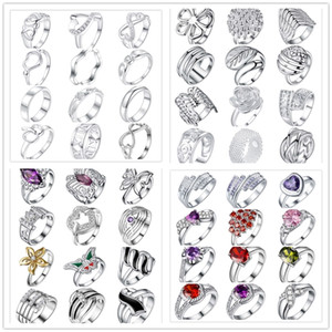 48pcs lot Mixed Style 925 Sterling Silver Plated Finger Ring With Zircon Fashion Cute Party Gift Jewelry For Women Mixed Size Free Shipping