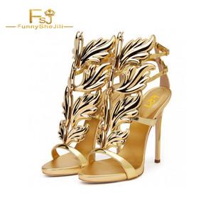 Argent Or Noir Chaussures De Soirée De Luxe Talons Métalliques Sandales Stiletto Pour Fête Femmes FSJ Chaussures Ailes Boucle Sangle Sexy