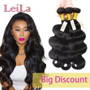 Weave Cabelo peruana Humano 3 Pacotes onda do corpo do cabelo Virgin Pacotes 95-100 / g 3pieces Uma Set Corpo Weave Natural Color