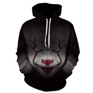 2018 Moda Nueva Horror Movie Clown Hoodie 3d Skull Sweatshirt Plus Sportswear Chándal Hombres Mujeres Unisex Pullover Tamaño S-6XL
