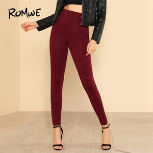 Romwe Sport Solid Burgundy Wide Waistband Donna Yoga Collant 2018 Autunno Solido poliestere Leggings Fitness Pantaloni da corsa femminili