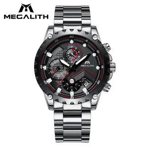 Reloj deportivo Hombre MEGALITH Cronógrafo impermeable Reloj de cuarzo con correa de acero inoxidable negro Reloj analógico para hombre