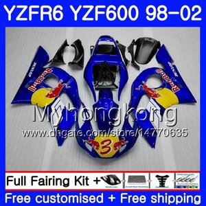 Cuerpo para YAMAHA YZF600 YZF R6 1998 1999 2000 2001 2002 230HM.44 YZF-R6 98 YZF 600 YZF-R600 YZFR6 98 99 00 01 02 Carenados Azul amarillo stock