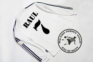 2002 final real madrid full long sleeves soccer jerseys zidane carlos raul ronaldo hierro solari figo old shirts