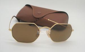1 par de alta qualidade dos homens das mulheres octogonais óculos de sol óculos de sol lentes de vidro de metal ouro marrom 53mm com casos marrons
