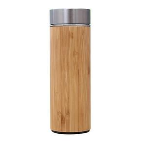 Nouveau Creative Bamboo Water bouteille tasse en acier inoxydable isolé sous vide avec couvercle Passoire à thé en bois Tasses droites DHL FEDEX