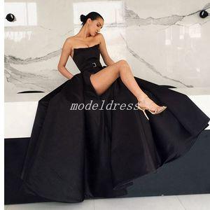 Abendkleider Yüksek-Uyluk Yarıklar Abiye 2019 Straplez Kanat Sweep Tren Örgün Balo Parti Törenlerinde vestidos de fiesta Artı Boyutu