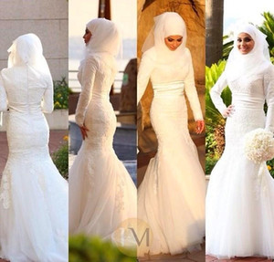 Dubai Muslim Brautkleider Mermaid Long Sleeves High Neck Spitze Appliques Bodenlangen Band Sash Zipper Zurück Elegant Brautkleider Custom