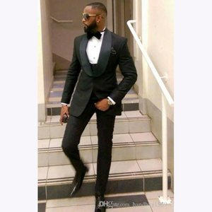 3 adet ısmarlama Klasik Siyah Erkekler Wedding Suit Slim Fit Balo Mens 2018 Custom Made Tailor Made Damat smokin İçin Men Suits