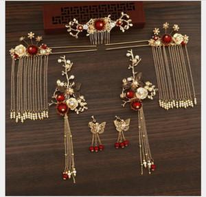 Coiffure de mariée, costume antique rouge chinois, robes de mariée, coiffure, toast, décorations classiques.
