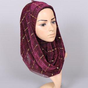 Neue Folie Seide Knitter Silber Seide Muslim Hui Baotou langen Schal Pailletten dünne dünne atmungsaktive weibliche Schals