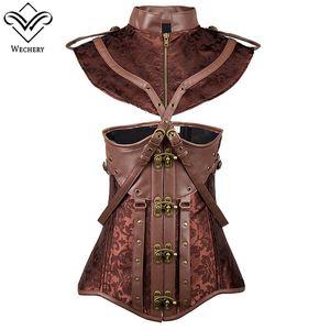 Wechery Women Steampunk Vintage Corset Dresses Leather Retro Gorset Suits Lace Up Brown Stripe Sexy Corselet Dress Pluse Size