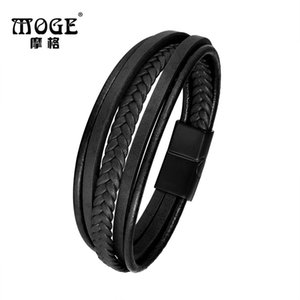 MOGE À La Mode En Cuir Véritable Bracelet Hommes En Acier Inoxydable Bracelets Multicouche Tressé Corde Chaîne Bracelets pour Bijoux Hommes