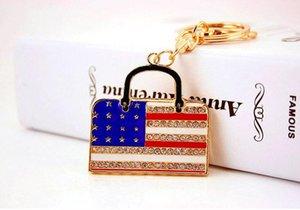 EUA Bandeira Nacional HandBag Forma Chaveiros Chaveiros-DIY Car Chave Titular Cadeia Decor-Womens Saco Charme Jóias Presentes