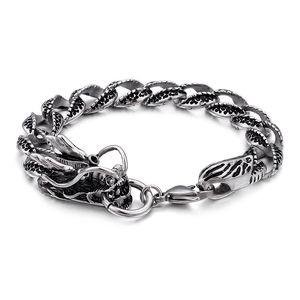 Мужские Толстые Тяжелый браслет из нержавеющей стали Классический китайский Dragon Head Buckle отполированный двойных слоев змея цепи браслеты