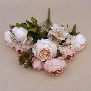 Decorativo 1 Buquê Vívido Peônia Folha Falsa Flores De Seda Artificial Casamento Nupcial Queda Decoração de Festa Em Casa