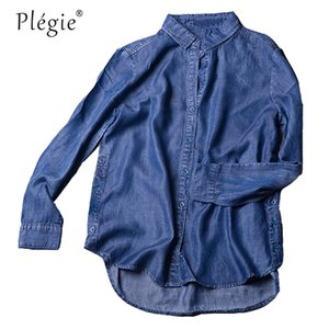 Plegie İpeksi Tencel Denim Gömlek Bluz Kadınlar Sonbahar Uzun Kollu Ince Su Yıkanmış Bluz Coat Dış Giyim Kadın Üstleri ve Bluzlar