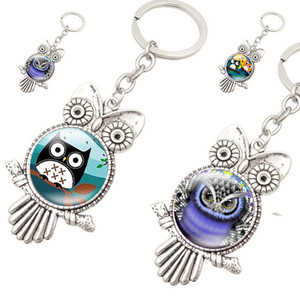 Coruja de vidro cabochão-chaves Chaveiros Titular antigo coruja pássaro chaveiro Saco trava moda jóias