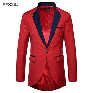 Мужская Slim Fit платье костюм однобортный одна кнопка смокинг блейзер куртка 2018 весна новый ужин партии блейзеры сценические костюмы