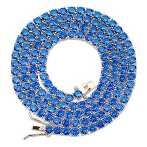 Collana di diamanti Hip Hop hanno ghiacciato Out 1 Linea 4 millimetri Larghezza micro pavimenta Red Blue Zircon Pietra Tennis Catena per le donne gli uomini