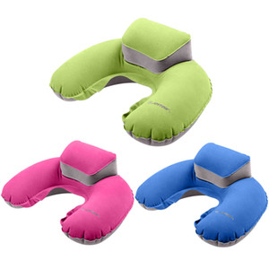 Air Blow Up Pillow Folding Inflatable U Shape Pillow Cushion Soft PVC Washable Neck Pillow For Office Outdoor Flight Rest