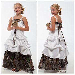 Spaghetti Strips A-Line Camo Flower Girls Dresses Real Tree Floor Length Custom Camouflage Kids Formal Party Wear Satin Cheap