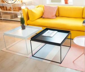 Mesita de noche Mesas auxiliares Arte de hierro mesa de té del norte de Europa sala de estar simple creativo borde blanco varias esquinas