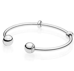 Top Quality Moments Silver Open Pan Bangle Pulseira Fit Bead Charme 925 Jóias De Prata Esterlina