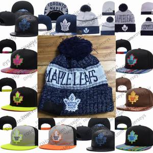 Toronto Maple Leafs de hockey sobre hielo de punto Gorros bordado ajustable del sombrero del Snapback bordada Azul Negro Gris Blanco cosido sombreros One Size