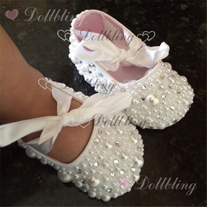 진주 세례은 사용자 정의 구매자 흰색 리본 일치 마법의 어린 시절 유품에 대한 명확한 크리스탈 아기 신발 모조 다이아몬드
