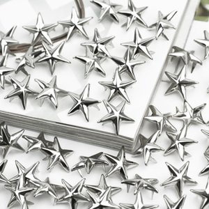 Silver Star Studs Spikes Metallo 15mm Leathercraft Macchie fai da te Nailhead Punk Rock Abbigliamento Abbigliamento Abbigliamento Decorazione di cucito