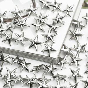 Estrela de prata Studs Spikes Metal 15mm Leathercraft DIY Manchas Nailhead Rock Roupas Punk Vestuário Vestuário Decoração de Costura
