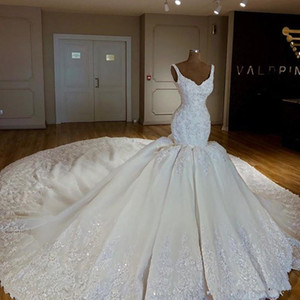Luxury Crystal Applique Mermaid Wedding Dresses 2018 Modest Cathedral Train Lace Beaded Dubai Arabic African Trumpet Church Wedding Gown