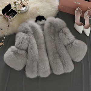 Las mujeres más del tamaño del Faux del invierno Fox Coats mullido cremallera Chaleco Caliente Gilet corto lanuda piel Cardigan prendas de vestir exteriores delgada capa de la chaqueta