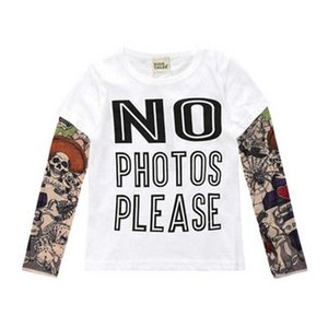 Mode Kinder Kleidung Tattoo Jungen T-Shirts 100% Baumwolle Mädchen T-Shirts Hip Pop Kinder Jersey Tops Langarm-Sweatshirts