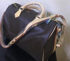 Damier Azur Toile Sac à main Speedy 25 30 35 handag avec sangle Toile en cuir totes sacs en cuir oxydant réel Speedy bourse avec LOCK et clé
