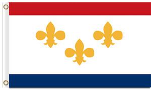 Digital-Druck-New- Orleansstadt-Flagge 3x5ft Polyester-Fahne, die kundenspezifische Flagge 150x90cm von New Orleans fliegt