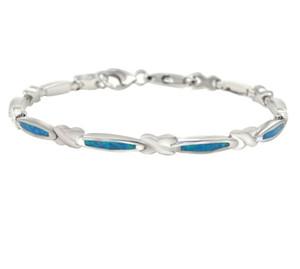 """Chapado en oro blanco 925 Sterling Silver 8.07 """"Creado Blue Opal Bar Link Bracelet Hawaiian Sea Blue Pulsera Joyería de la boda para la muchacha adolescente"""