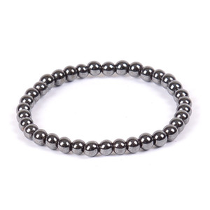 Natural Stone Hematite Magnetic Bracelet Black Beads Therapy Health Care Stretch Bracelet & Bangle Men's Jewelry 6 8 10mm