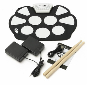 6Pcs set 39x 27.5x2.5cm Silica Gel Foldable Portable Roller Up USB Electronic Drum Kit+2 Drum Sticks+2 Foot pedals