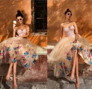 Muhteşem 2019 Gelinlik Modelleri Sevgiliye Straplez A Hattı Diz Boyu Şampanya Pembe Dantel Aplikler Kelebek Lace Up Geri Moda Tasarım