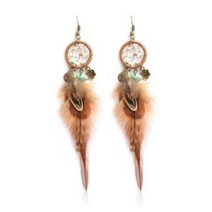 1pc vento nazionale orecchini romantici orecchini Dreamcatcher per le donne piuma orecchino goccia unico elegante gioielli di moda