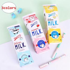 Студенты молоко коробка карандаш сумки большой емкости дети симпатичные водонепроницаемый PU пенал Novetly дети подарок 3 цвета